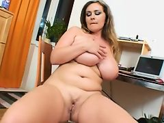 Sweet girl with giant huge boobs play with her cunt