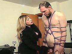 Sexy blonde mistress gets this man bound part4
