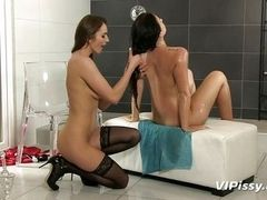 naughty lesbians are having piss drinking fun